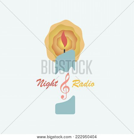 A burning candle and a treble clef symbolize the logo of the radio station. Vector illustration is made in a flat style.