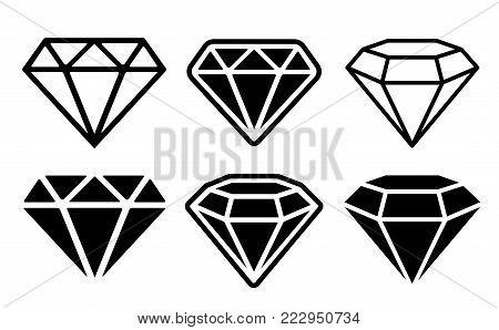 Diamond Icon set - stock vector illustration.