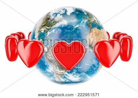 Earth globe with red hearts around, valentine's day concept. 3D rendering isolated on white background