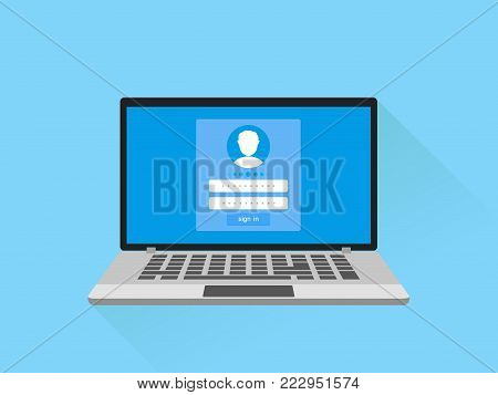 Enter Login And Password Concept. Laptop with login form page on screen. Sign in to your account. vector illustration .