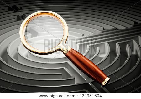 Finding solutions concept, maze with magnifier, 3D rendering