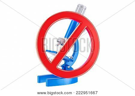 Forbidden sign with microscope, 3D rendering isolated on white background