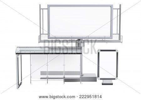 Outdoor empty advertising billboard, blank light box and bus stop with advertising panels, 3D rendering isolated on white background