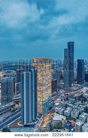 Ramat Gan Skyline At Night, Skyscraper In Financial District