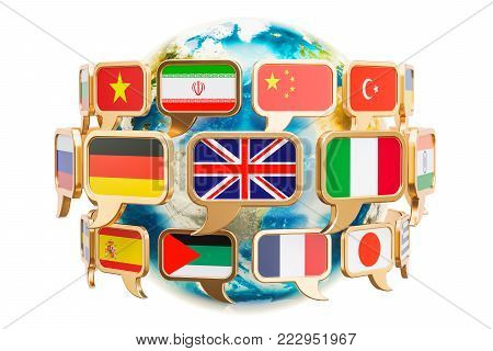 Speech bubble with flags around Earth Globe, 3D rendering isolated on white background