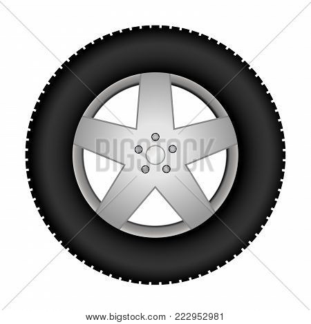 Car tire on an alloy wheel. Vector illustration