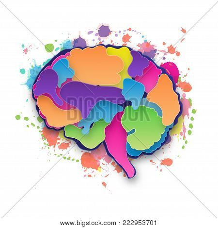 Colorful vector brain illustration, layered cut out colored paper human brain. Paint blob. Creative mind, learning and design concept. Paper carve. Isolated on white