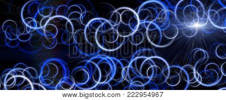 Fantastic circle panorama background design illustration with lights