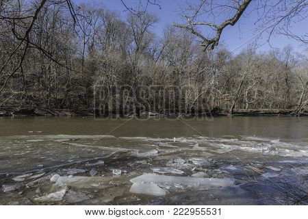 ice on the Brandywine Creek in Wilmington, Delaware