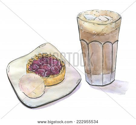 hand drawn painted set of watercolor isolated coffee cocoa with marshmallow in a glass with cherry tart pie cake and ice cream on white background