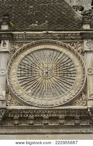 clock detail on the Chartres Cathedral in Chartres France