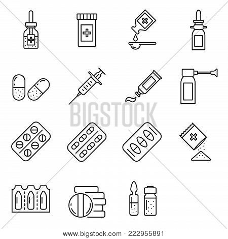 Simple Set of drugs Related Vector Line Icons. Contains such Icons as medication, suppository, syringe, antibiotics, preparation and more.