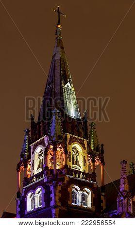 LVIV, UKRAINE - October 16, 2017: Saint Olga's and Elizabeth's cathedral at twilight, nightly churches Lvov, Ukraine
