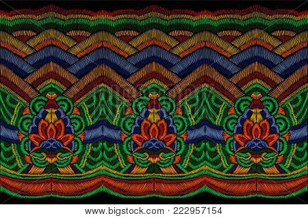 Traditional embroidery clothes decoration. National Korean fashion seamless border colorful ethnic asian oriental background ornament patch vector illustration art