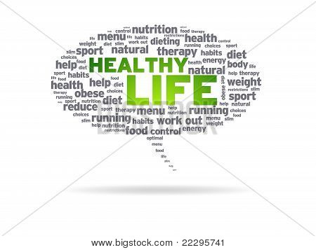 Speech bubble with the words Healthy Life on white background. poster