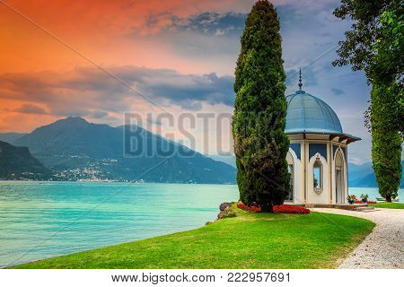 Amazing botanical garden with stunning walkway in the garden of luxury villa Melzi, Bellagio, lake Como, Lombardy region, Italy, Europe
