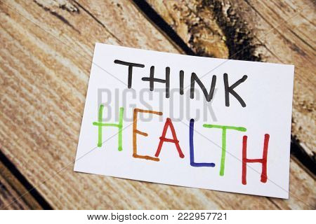 Memo note on Sticky note Think Health, think of Helath