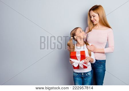 Close Growing-up Funtime People Concept. Side Profile Half-faced View Portrait Of Touching Caring Ex