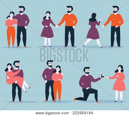 Relationship stages of young couple from dating to engagement. An offer of marriage. Romantic relationship. Man proposes a woman to marry him and gives an engagement ring. Vector cartoon illustration