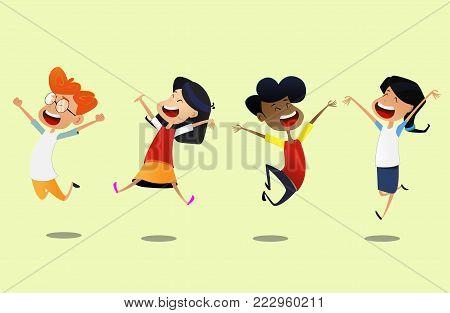 Group of cartoon school children jump for joy. Concept of happiness. Vector