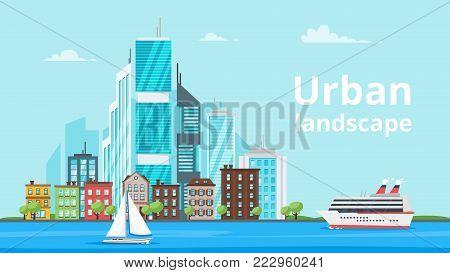 Vector  cartoon style illustration of city landscape. Urban skyline. Modern skyscrapers and city marine transport.