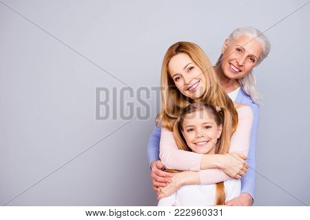 Portrait Of Charming Beautiful Friendly King Supportive Cute Family Members Hugging Each Other Isola