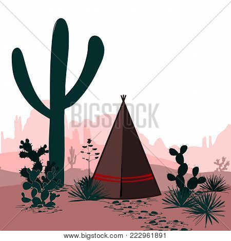 Horizontal vector banner with desert, tepee, saguaro, and prickly pear cactus. Mountains silhouette background. Wild west. Cartoon illustration.