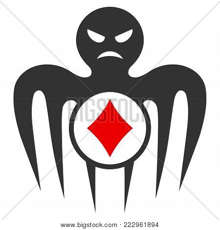Gambling Spectre Monster flat vector pictogram. An isolated icon on a white background.