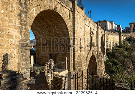Puente Nuevo bridge in Ronda, one of the famous white villages in Andalusia, Spain