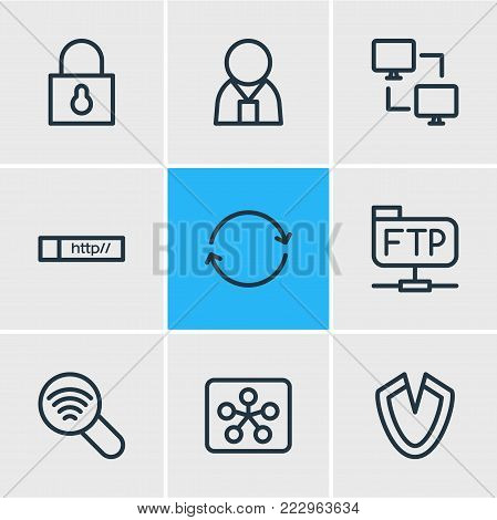 Vector illustration of 9 network icons line style. Editable set of synchronize, link, ftp and other icon elements.