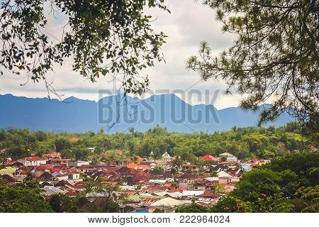 View of the Bukittingi town in Sumatra, Indonesia