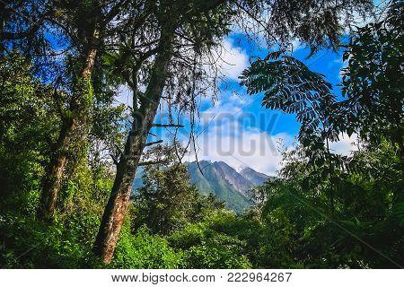 Majestic Gunung Sibayak volcano in Sumatra in Indonesia