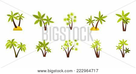 Double palm tree icon set. Flat set of double palm tree vector icons for web design isolated on white background
