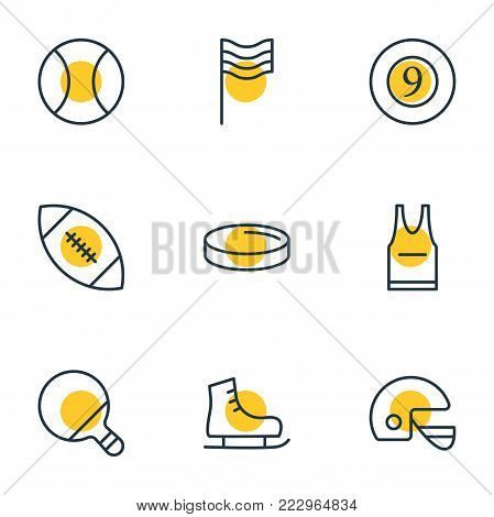 Vector illustration of 9 fitness icons line style. Editable set of skates, billiards, racer hat and other icon elements.
