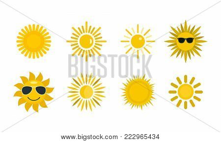 Sun icon set. Flat set of sun vector icons for web design isolated on white background