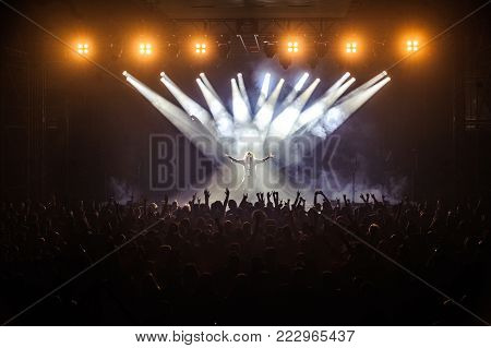 BELGRADE, SERBIA - JANUARY 19TH, 2018: MILLE PETROZZA FROM GERMAN THRASH METAL BAND KREATOR PERFORMING AT BELGRADE METAL MEETING FESTIVAL