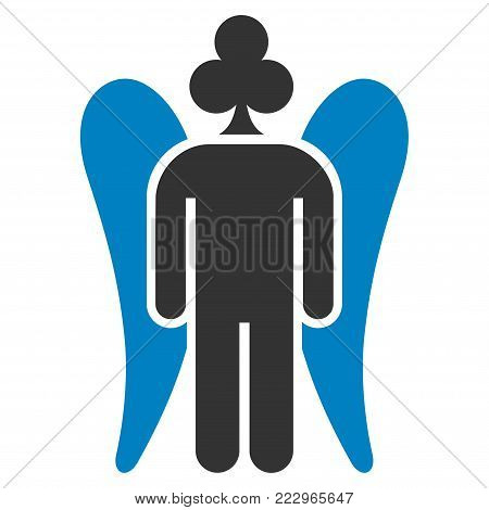 Gambling Angel flat vector pictogram. An isolated icon on a white background.