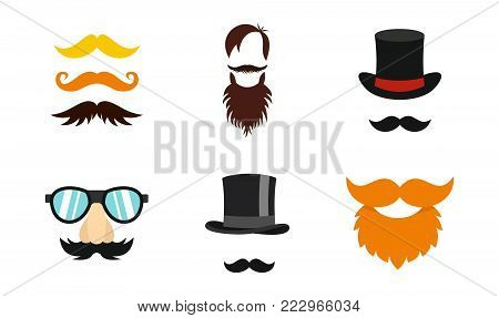 Mustache icon set. Flat set of mustache vector icons for web design isolated on white background