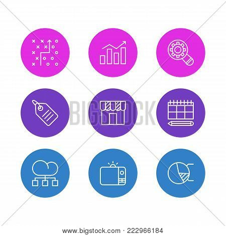 illustration of 9 advertising icons line style. Editable set of tactical plan, analysis, circle diagram and other elements.