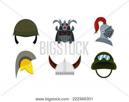 Army helmet icon set. Flat set of army helmet vector icons for web design isolated on white background