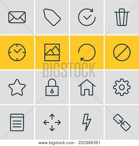 illustration of 16 annex icons line style. Editable set of clock, time, document and other elements.