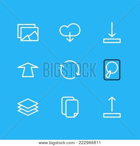 illustration of 9 memory icons line style. Editable set of documents, hdd, synchronize and other elements.