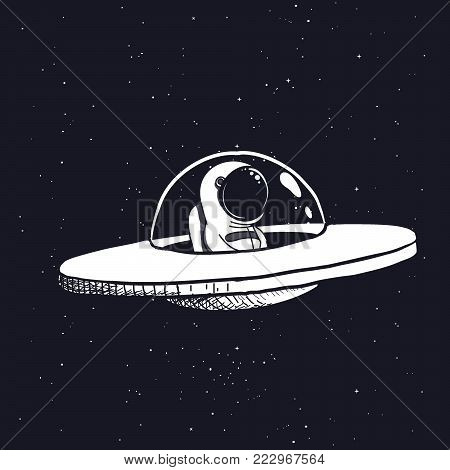 Astronaut in a flying saucer.Hand drawn style.Space scientific vector illustration