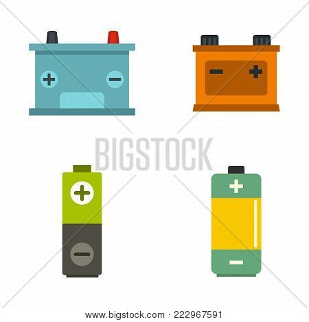 Battery icon set. Flat set of battery vector icons for web design isolated on white background