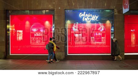 STRASBOURG, FRANCE - OCT 31, 2017: Galeries Lafayette fashion store in France with closed store-windows during the preparation of the Christmas edition Spectacular