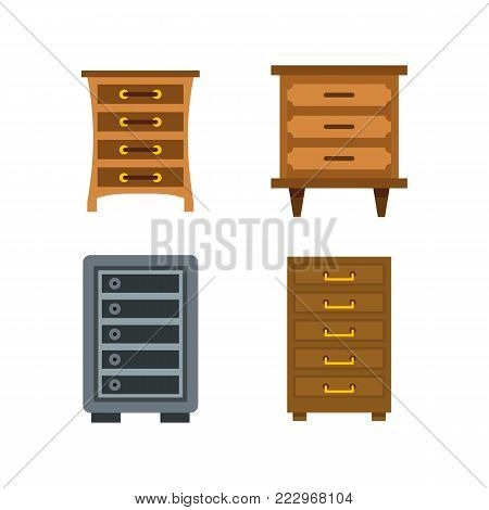 Drawers icon set. Flat set of drawers vector icons for web design isolated on white background