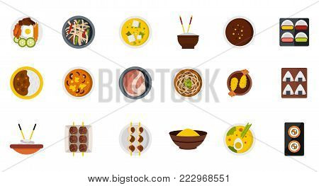 Food on plate icon set. Flat set of food on plate vector icons for web design isolated on white background
