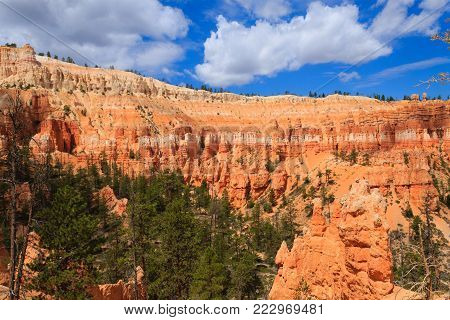 Panorama from Bryce Canyon National Park, USA. Hoodoos, geological formations. Beautiful scenery
