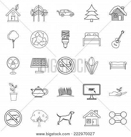 Environmental standard icons set. Outline set of 25 environmental standard vector icons for web isolated on white background