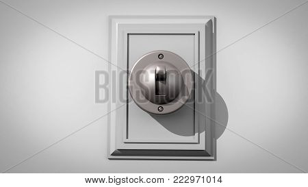 3D illustration of an old-fashioned ceramic light switch on a gray wall with the switch and backplate composed center and closeup